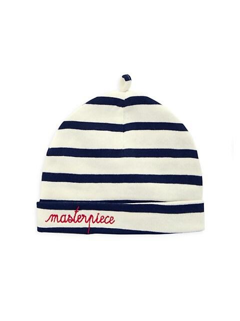 Baby's Striped Bonnet De Naissance Hat