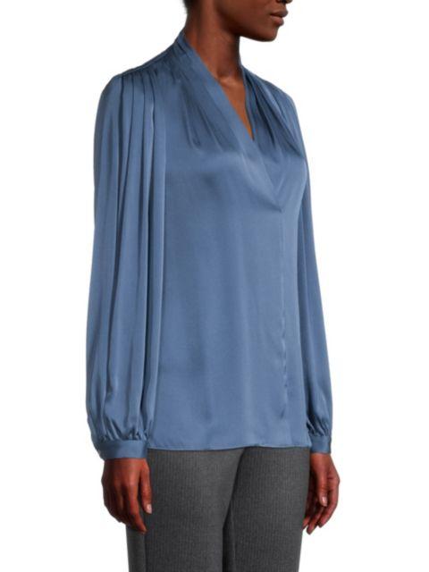 Kobi Halperin Taya Pleated Stretch-Silk Blouse | SaksFifthAvenue