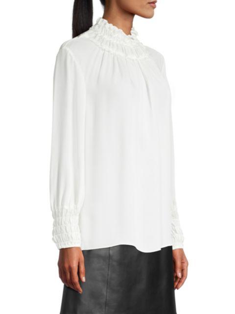 Kobi Halperin Alara Shirred Silk Blouse | SaksFifthAvenue