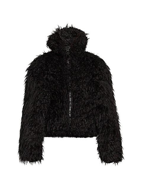 Balenciaga Crop Faux Fur Jacket, Fake Fur Coat Hood