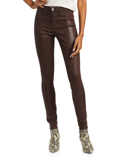 L'Agence Marguerite High-Rise Skinny Coated Jeans   SaksFifthAvenue