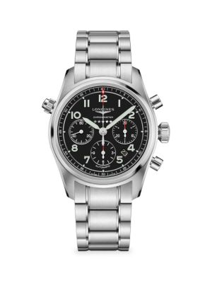 Longines Spirit Stainless Steel Chronograph Bracelet Watch In Black