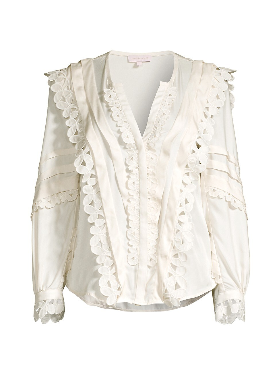 Rebecca Taylor WOMEN'S EMBROIDERED SILK-BLEND BLOUSE