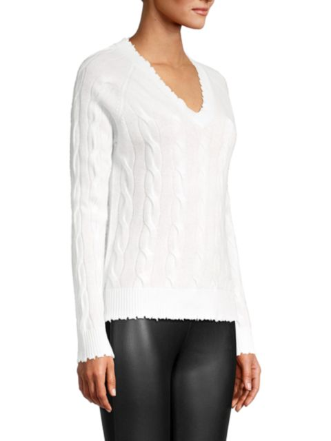 Minnie Rose Cable Knit Frayed V-Neck Cashmere Sweater   SaksFifthAvenue