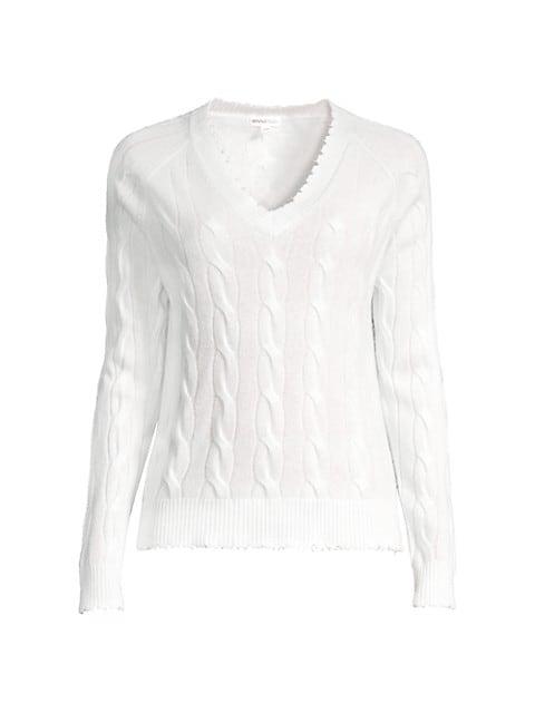 Cable Knit Frayed V-Neck Cashmere Sweater