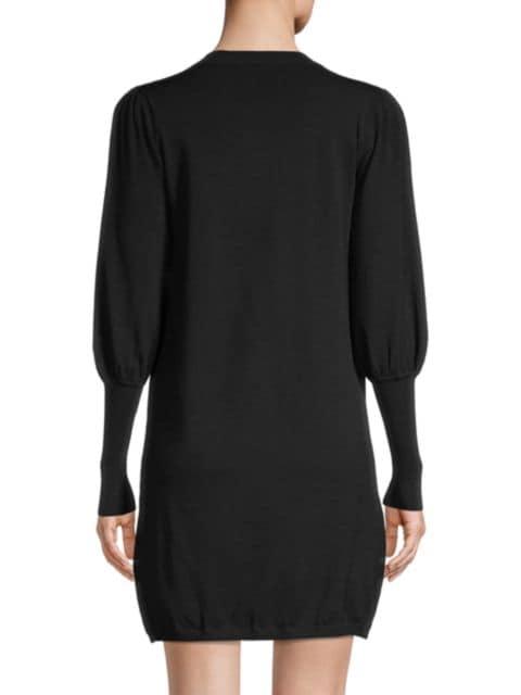 Minnie Rose Puff-Sleeve Knit Dress   SaksFifthAvenue