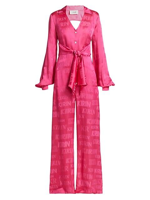 Tie-Waist Bell-Sleeve Jumpsuit