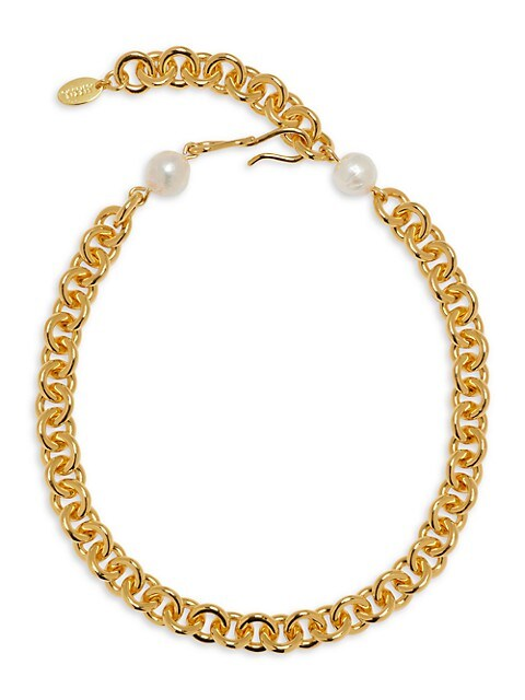 Halo 18K Goldplated & 12-13MM Pearl Chunky Chain Necklace