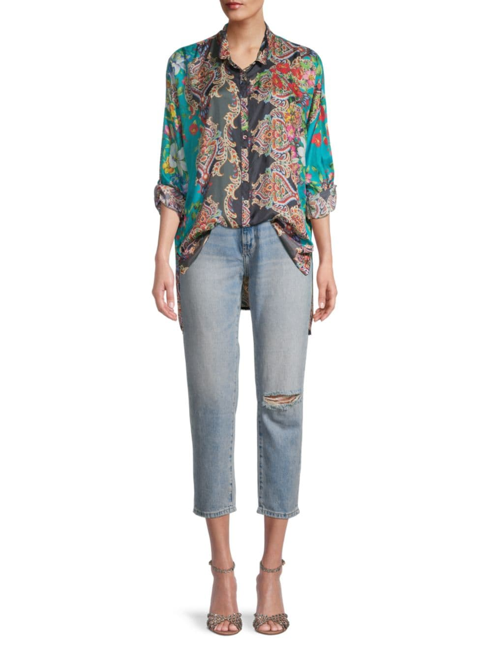 Johnny Was Candice Button-Up High-Low Blouse   SaksFifthAvenue