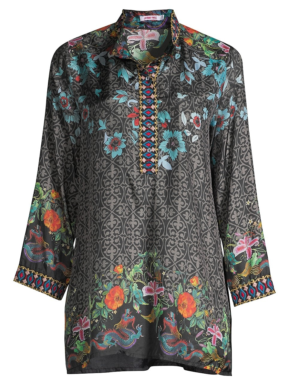 JOHNNY WAS WOMEN'S KENNEDY FLORAL SILK TUNIC