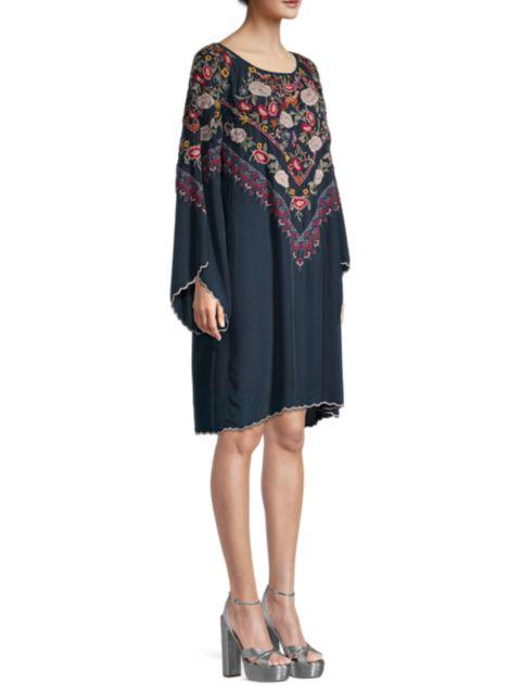 Johnny Was Maryam Silk Embroidered Dress | SaksFifthAvenue