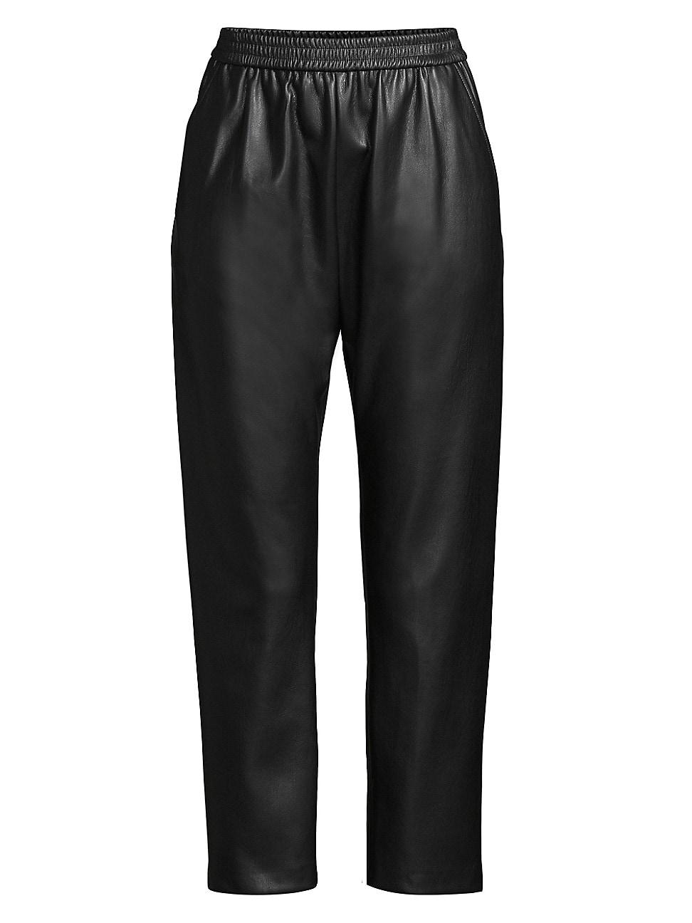 Hugo Boss Women's Taledy Vegan Leather Joggers In Black