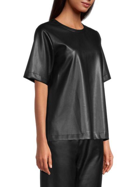 BOSS Iledy Vegan Leather Short-Sleeve Top | SaksFifthAvenue
