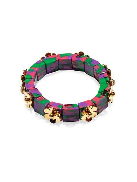 Flower-Embellished Colorblock Stretch Bracelet
