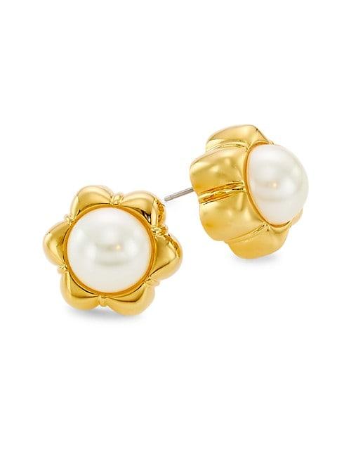 Faux Pearl Carnation Stud Earrings