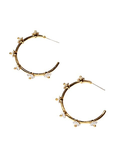 14K Goldplated & Swarovski Carnation-Lined Hoop Earrings
