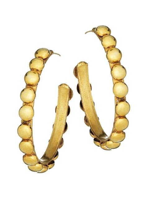 Tribal Goldtone Studded Hoop Earrings