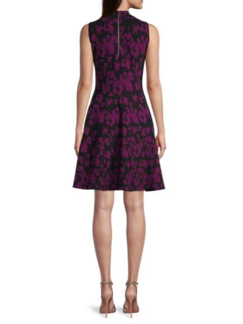 Milly Floral Knit Flare Dress   SaksFifthAvenue