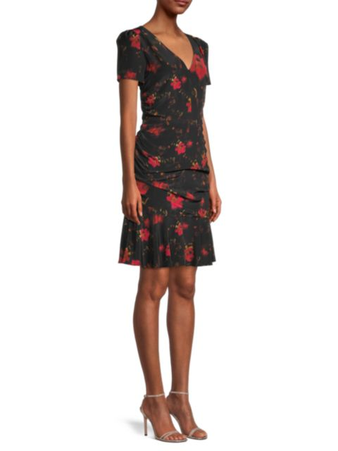 Milly Pam Burnished Floral Silk Sheath Dress   SaksFifthAvenue