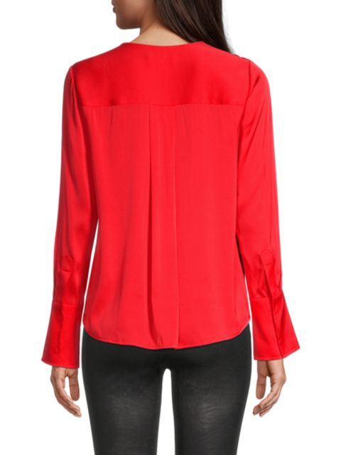Milly Elyse Draped Silk-Blend Blouse | SaksFifthAvenue