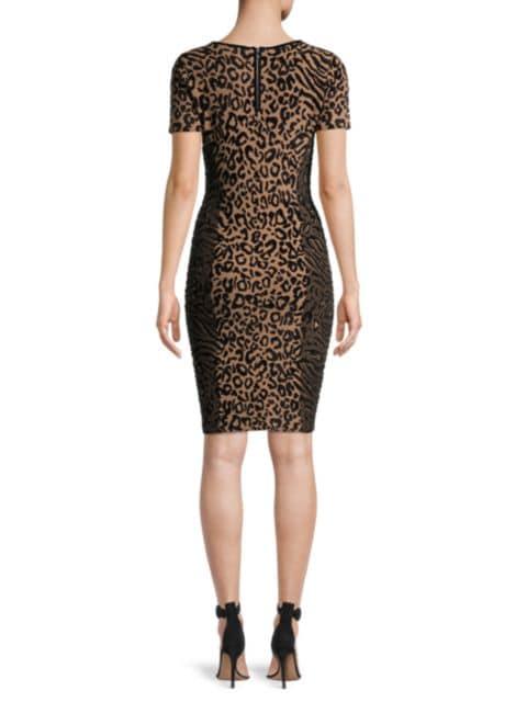 Milly V-Neck Leopard-Print Knit Dress   SaksFifthAvenue