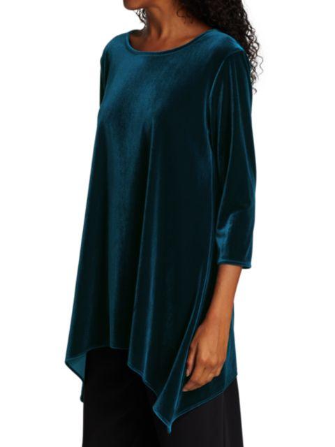 Caroline Rose Stretch Velvet Draped Tunic | SaksFifthAvenue