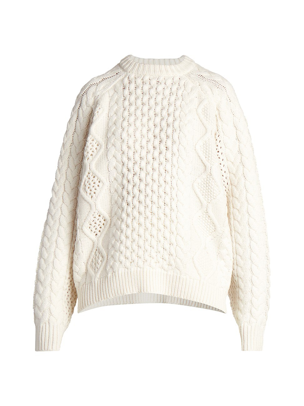 LOULOU STUDIO WOMEN'S CIPRIANU CABLE KNIT WOOL & CASHMERE SWEATER - IVORY - SIZE LARGE