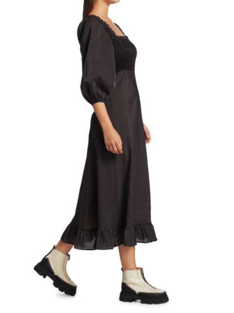 Ganni Seersucker Puff-Sleeve Midi Dress | SaksFifthAvenue
