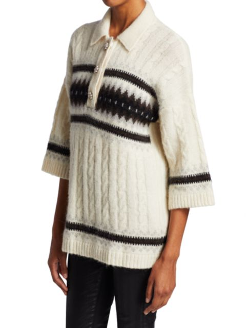 Ganni Oversized Striped Knit Pullover   SaksFifthAvenue
