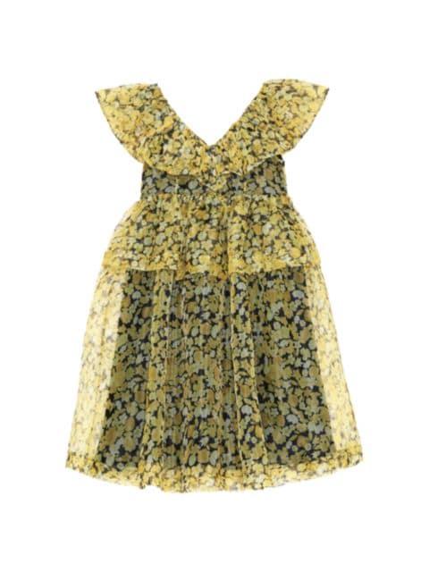 Ganni Organza Ruffle Babydoll Dress   SaksFifthAvenue