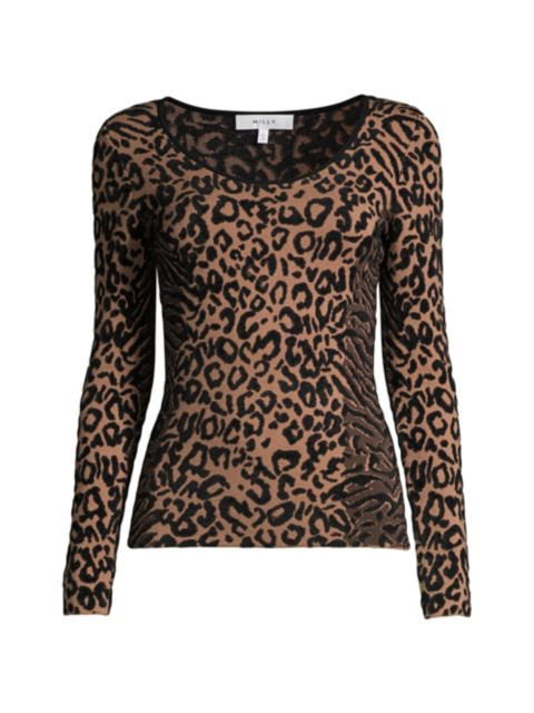 Milly Scoopneck Leopard-Print Knit Top   SaksFifthAvenue