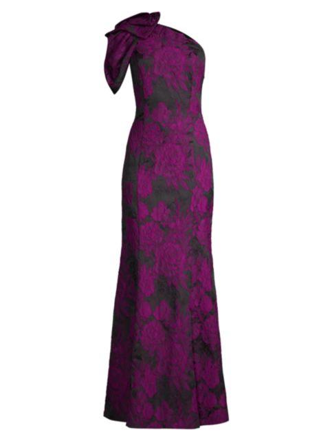 Aidan Mattox One-Shoulder Floral Jacquard Gown   SaksFifthAvenue