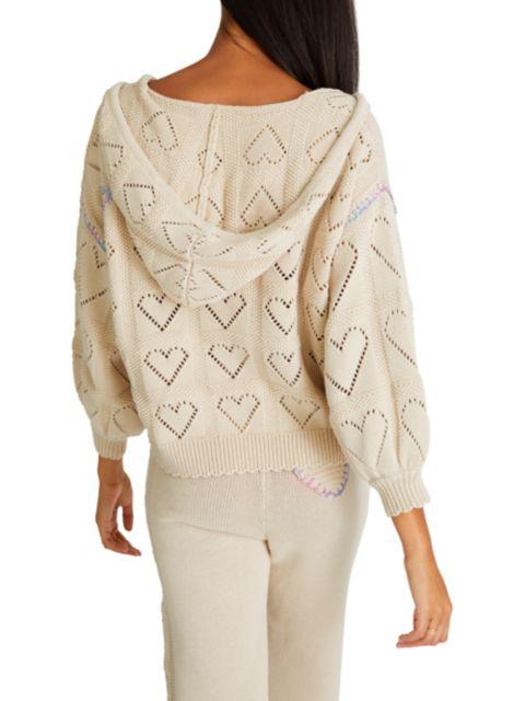 LoveShackFancy Meara Heart Crochet Hoodie   SaksFifthAvenue