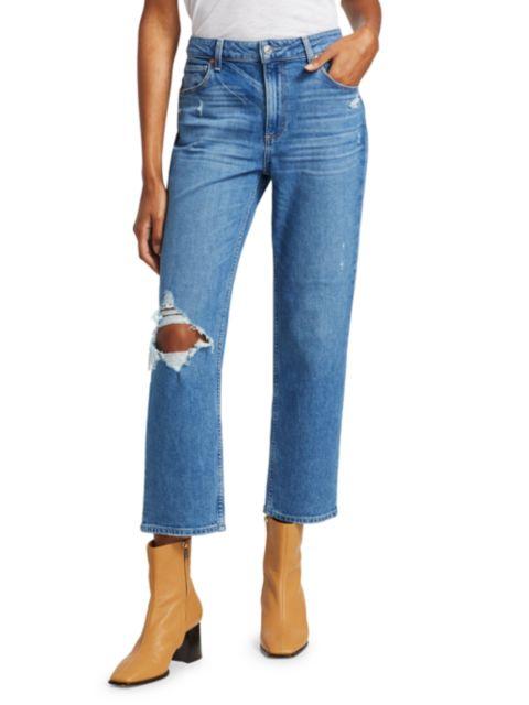 Paige Jeans Noella Distressed Caballo-Inseam Straight-Leg Jeans | SaksFifthAvenue
