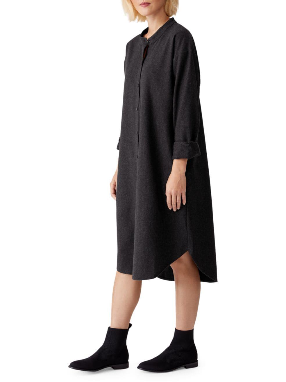 Eileen Fisher Mandarin Collar Shirtdress   SaksFifthAvenue