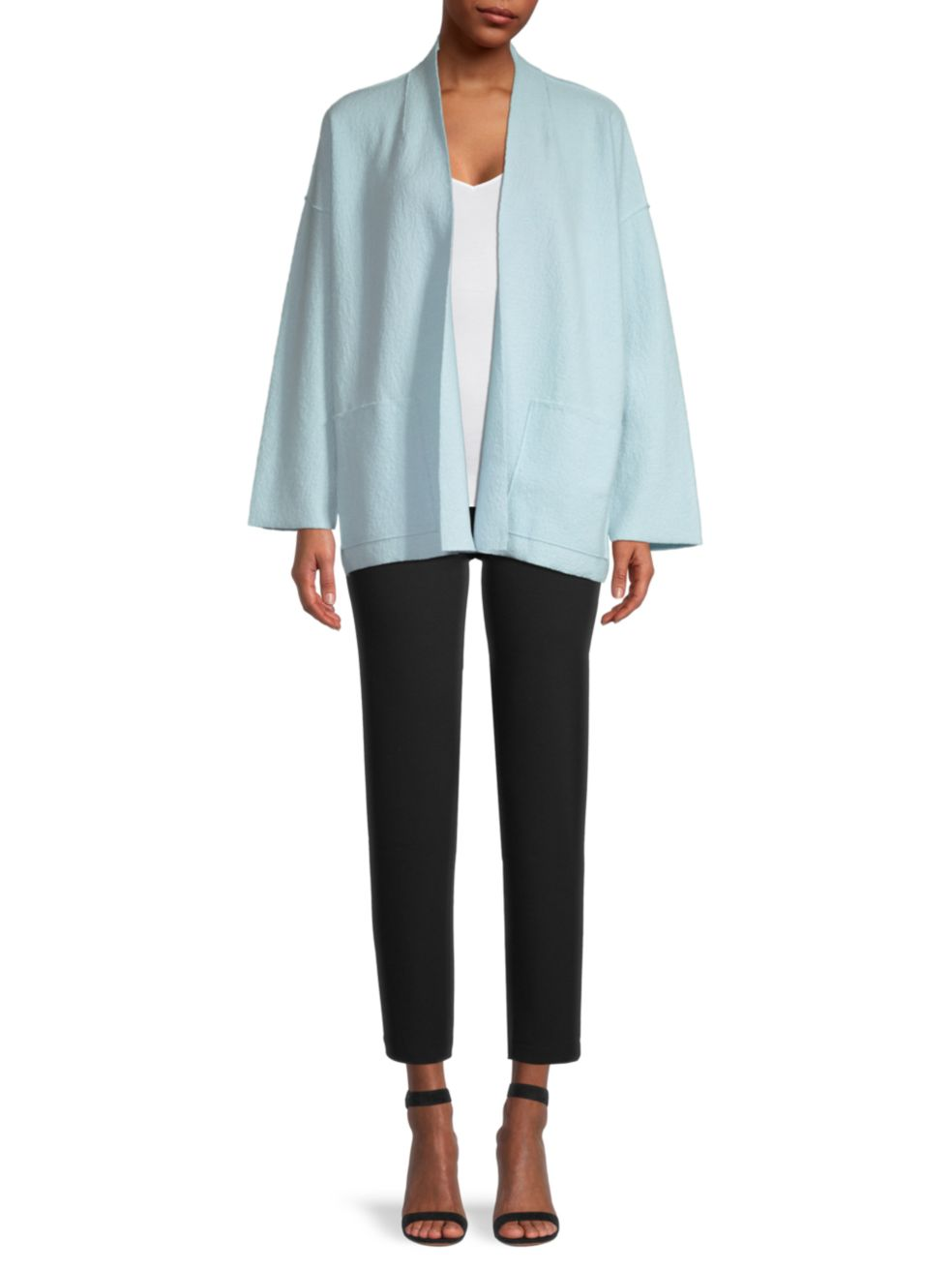 Eileen Fisher High Collar Open-Front Jacket   SaksFifthAvenue