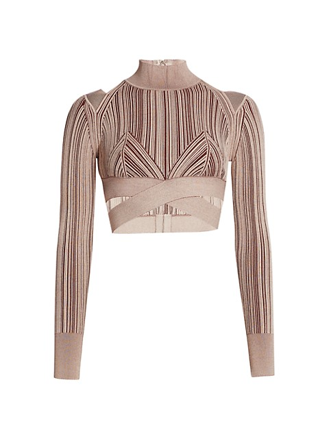 Plaited Rib Cut Outs Crop Top