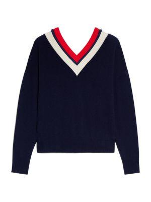 Sandro Wools Torsy Striped V-Neck Sweater