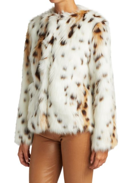 7 For All Mankind Short Snow Leopard Faux Fur Coat   SaksFifthAvenue