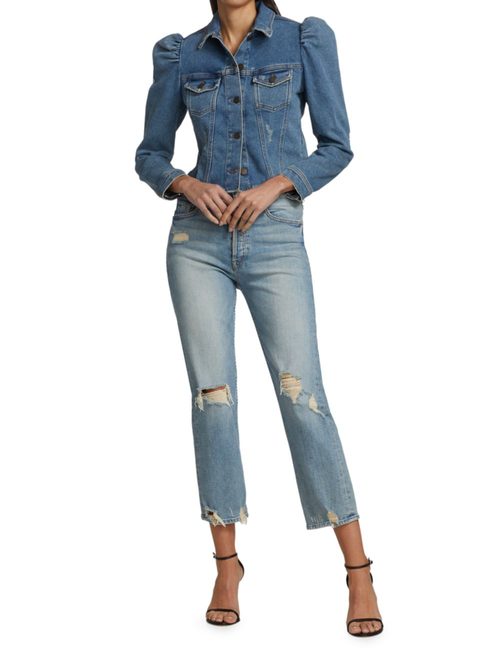 Retrofête Rissa Puff-Sleeve Denim Jacket | SaksFifthAvenue