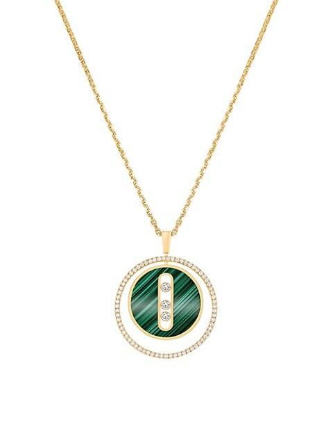 Lucky Move 18K Yellow Gold, Malachite & Diamond Pendant Necklace
