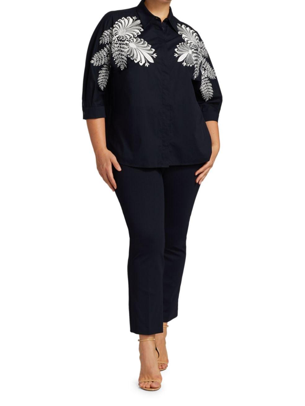 Marina Rinaldi, Plus Size Balzare Poplin Embroidered Shirt | SaksFifthAvenue