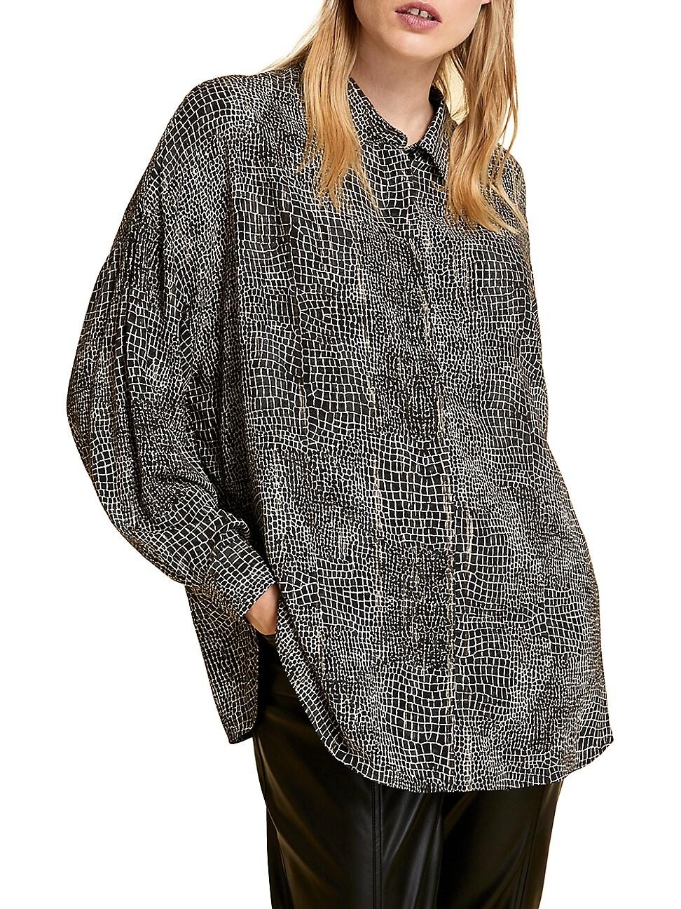 Marina Rinaldi Bantu Croc Print Metallic Button Up Shirt In Black