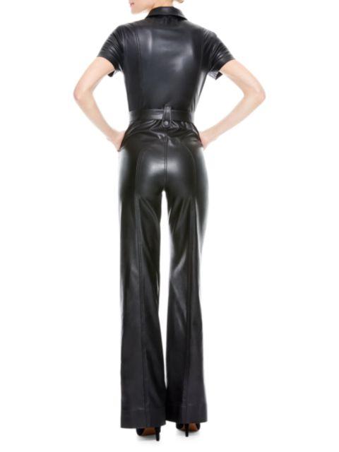 Alice + Olivia Jeans Gorgeous Vegan Leather Jumpsuit   SaksFifthAvenue