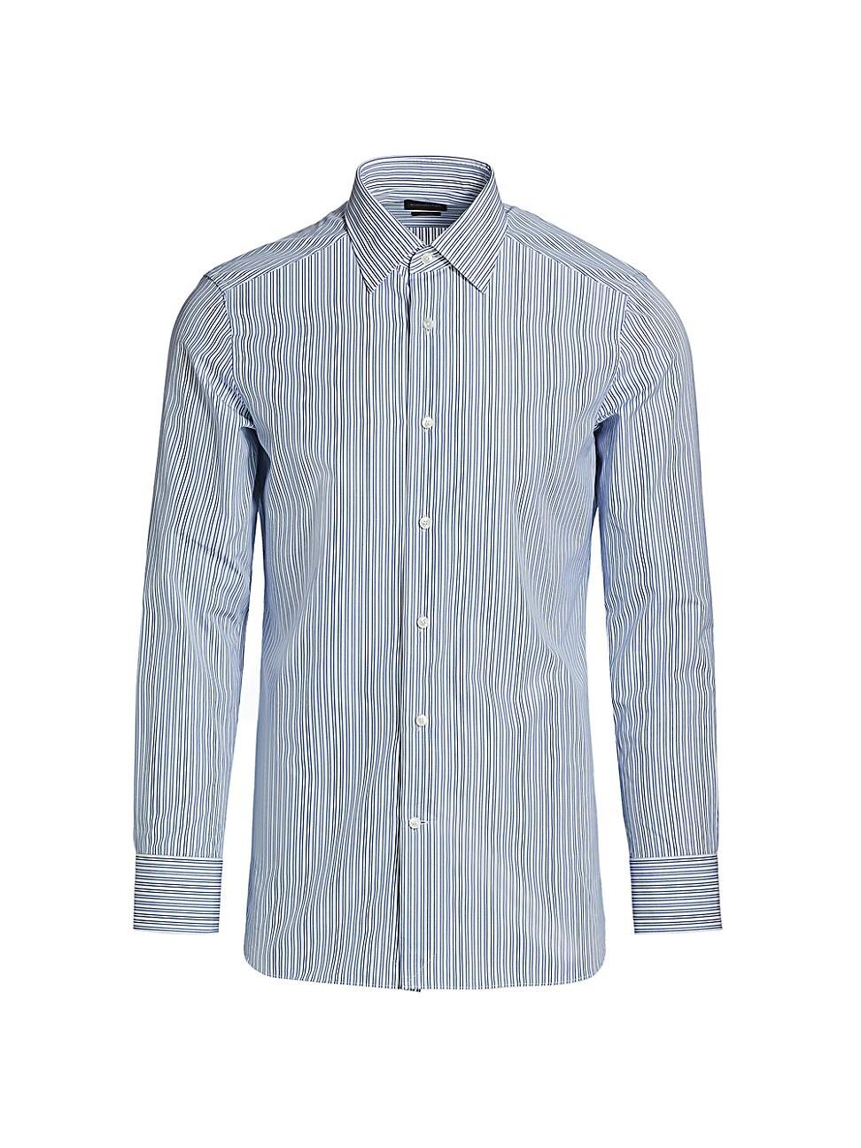 Ermenegildo Zegna Trofeo Striped Sport Shirt In Blue