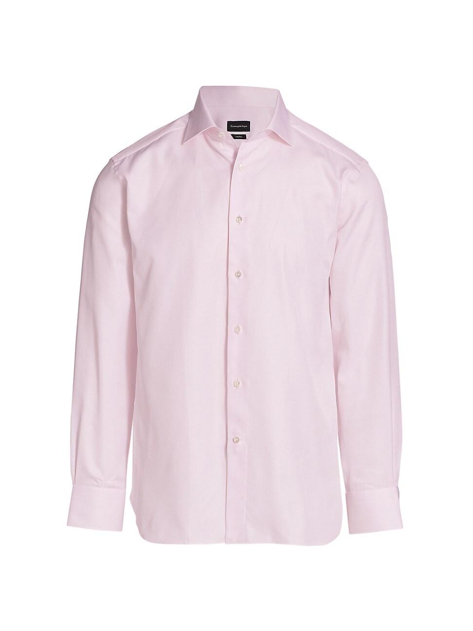 Ermenegildo Zegna Trofeo Textured Sport Shirt In Bright Pink Solid