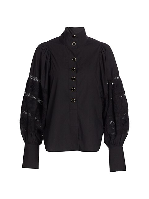 Puff-Sleeve Highneck Blouse