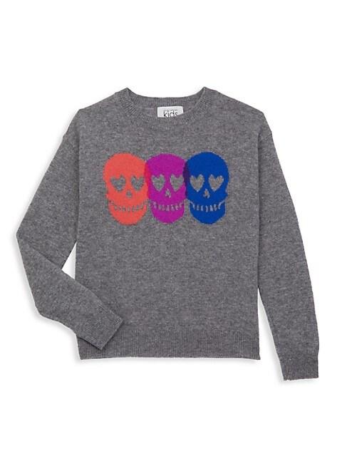 Girl's Skull Wool Blend Pullover