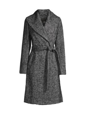Donna Karan Oversized Wool Tweed Coat