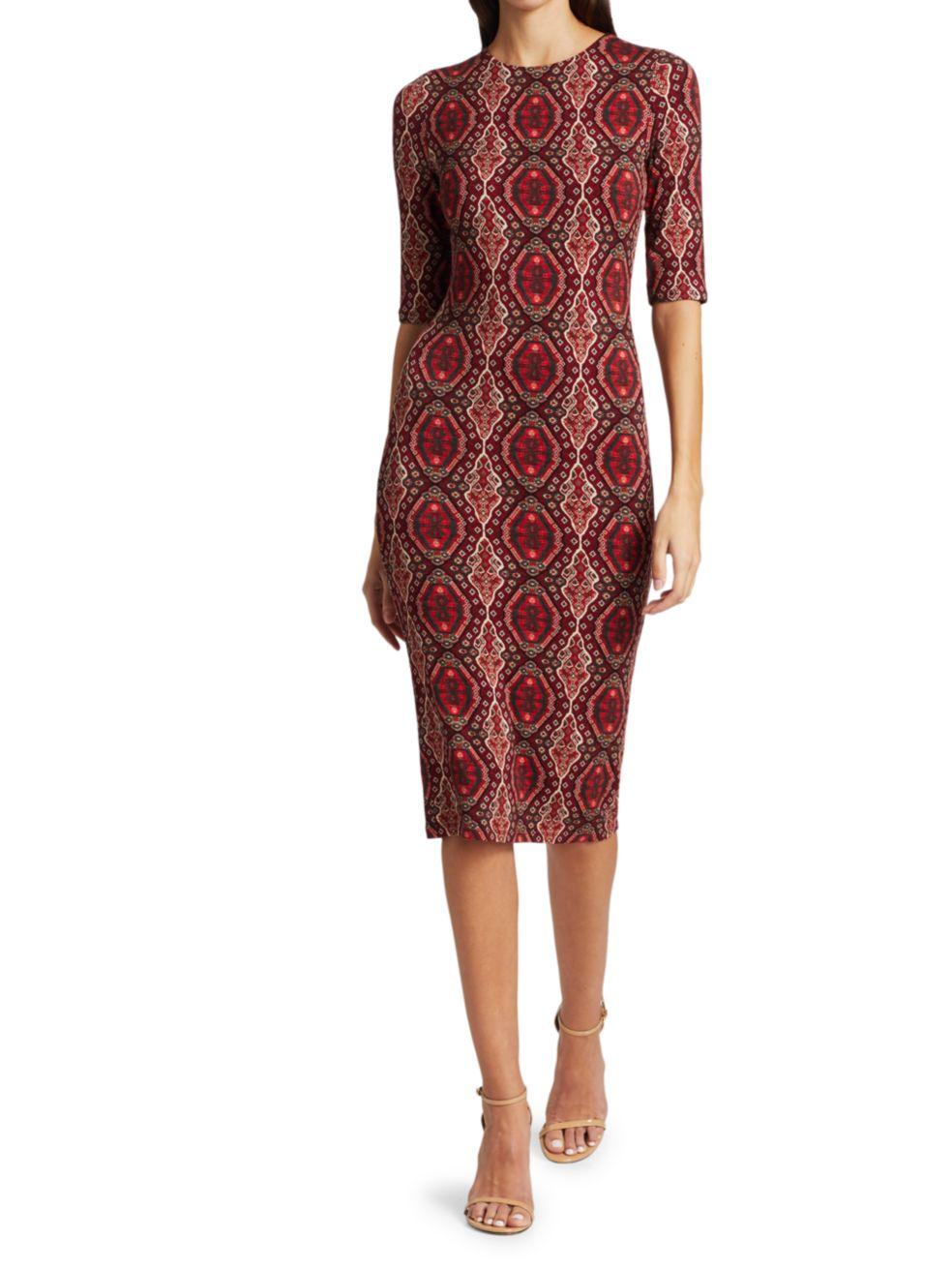 Alice + Olivia Delora Fitted Crewneck Dress   SaksFifthAvenue
